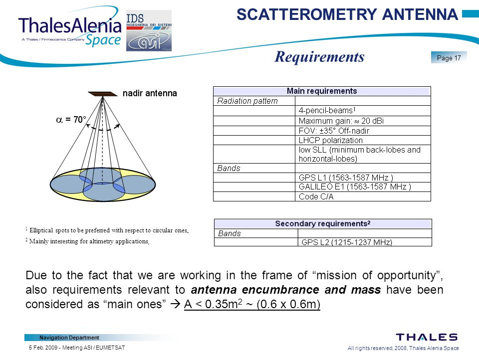 All rights reserved, 2008, Thales Alenia Space Navigation Department Page 17 5 Feb.