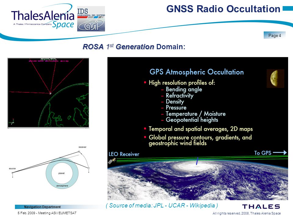 All rights reserved, 2008, Thales Alenia Space Navigation Department Page 4 5 Feb.