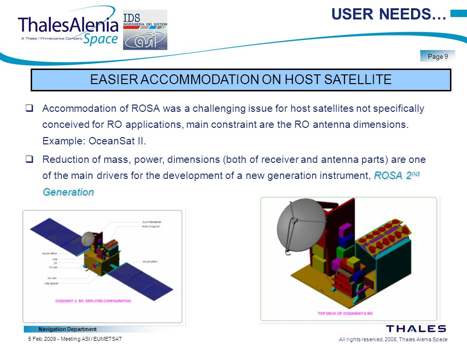All rights reserved, 2008, Thales Alenia Space Navigation Department Page 9 5 Feb.