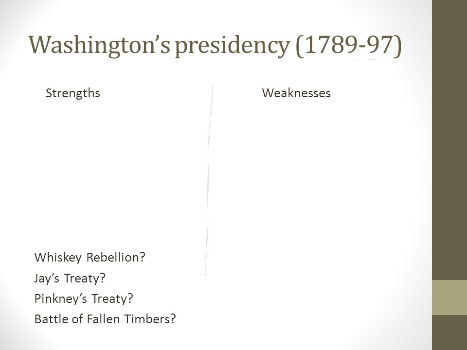 Washington's presidency (1789-97) Strengths Weaknesses Whiskey Rebellion.