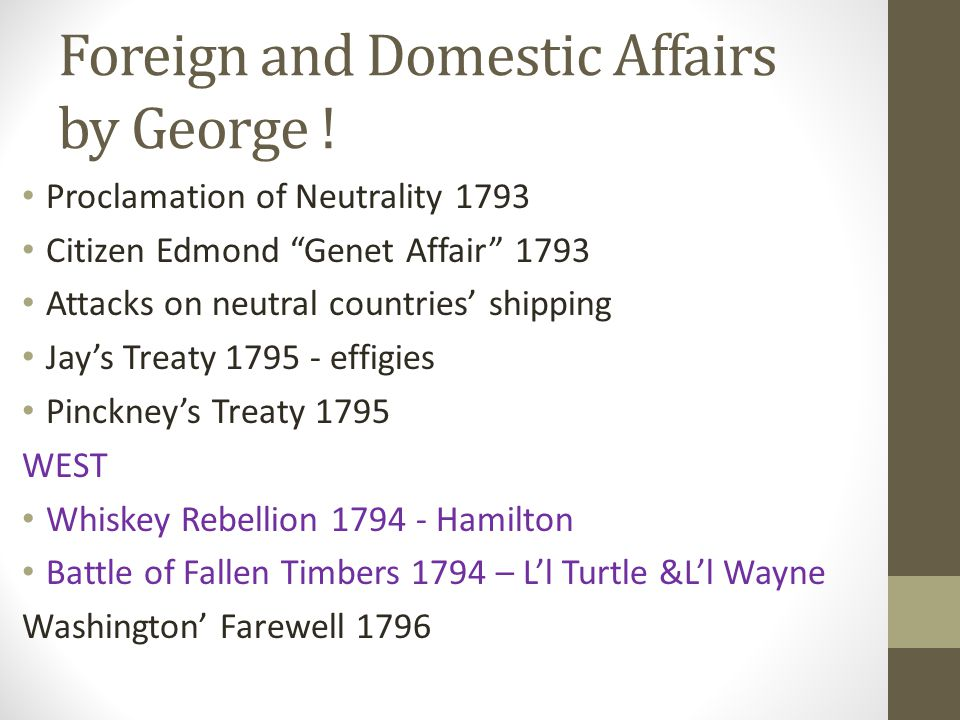 Foreign and Domestic Affairs by George .