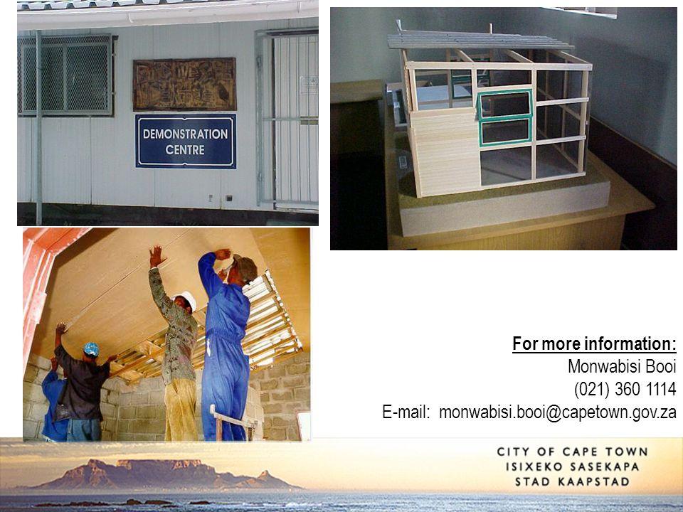 For more information: Monwabisi Booi (021) 360 1114 E-mail: monwabisi.booi@capetown.gov.za