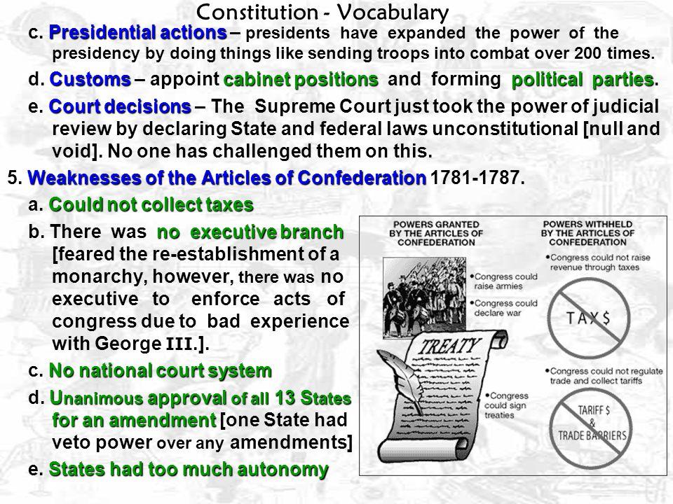Constitution – Vocabulary [22 terms] U.S.Constitution 27 amendments 1.