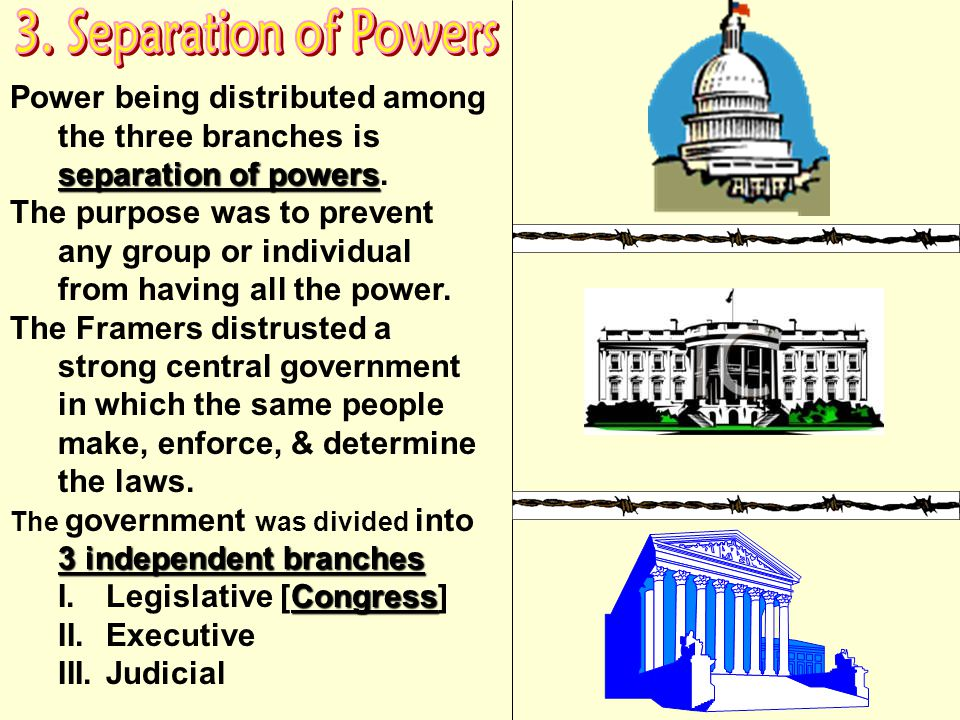 Limited government reflected the Framers fear of too much power [tyranny] accumulating in any one branch. The people are the only source of authority.