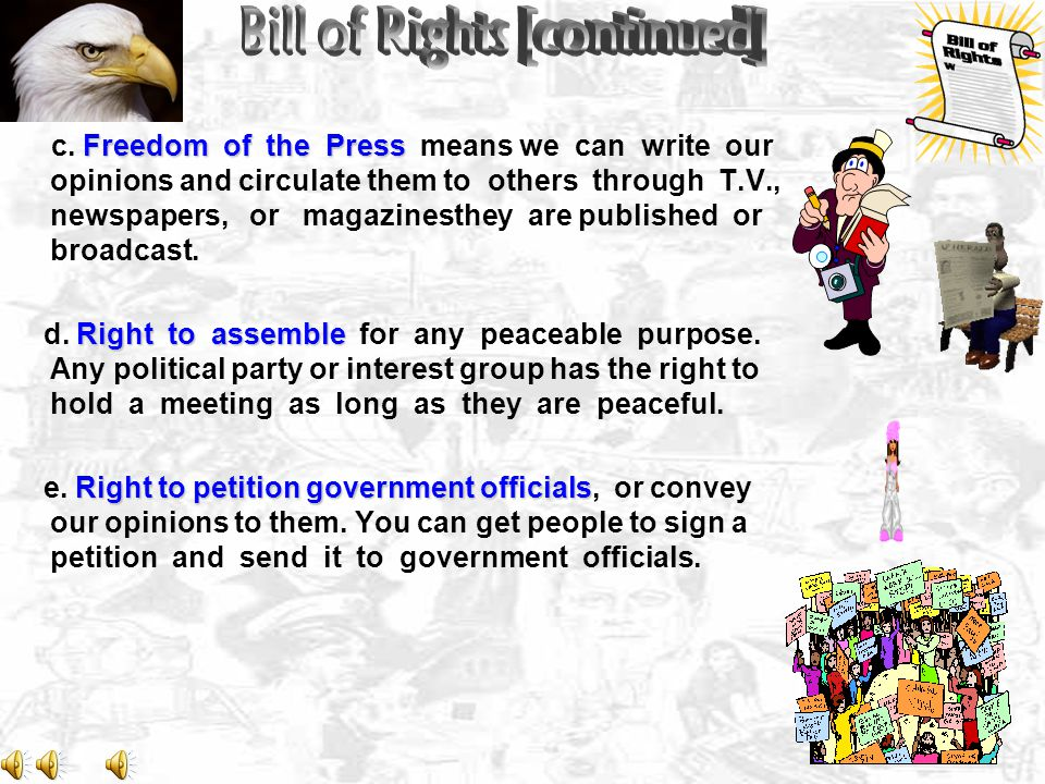 """5 GREAT BASIC FREEDOMS keystone of individual freedom Amendment 1. Guarantees our 5 GREAT BASIC FREEDOMS. [""""Civil Liberties"""" or freedom of expressions"""