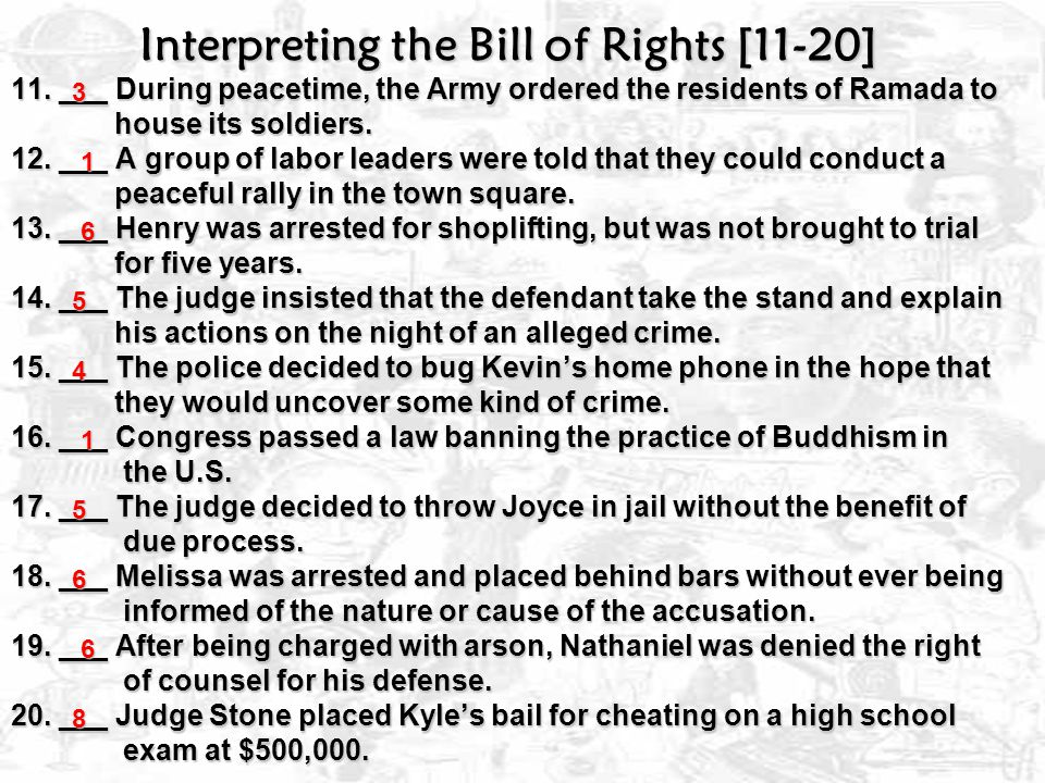 Interpreting the Bill of Rights Write the number of the amendment that prohibits the following violations.