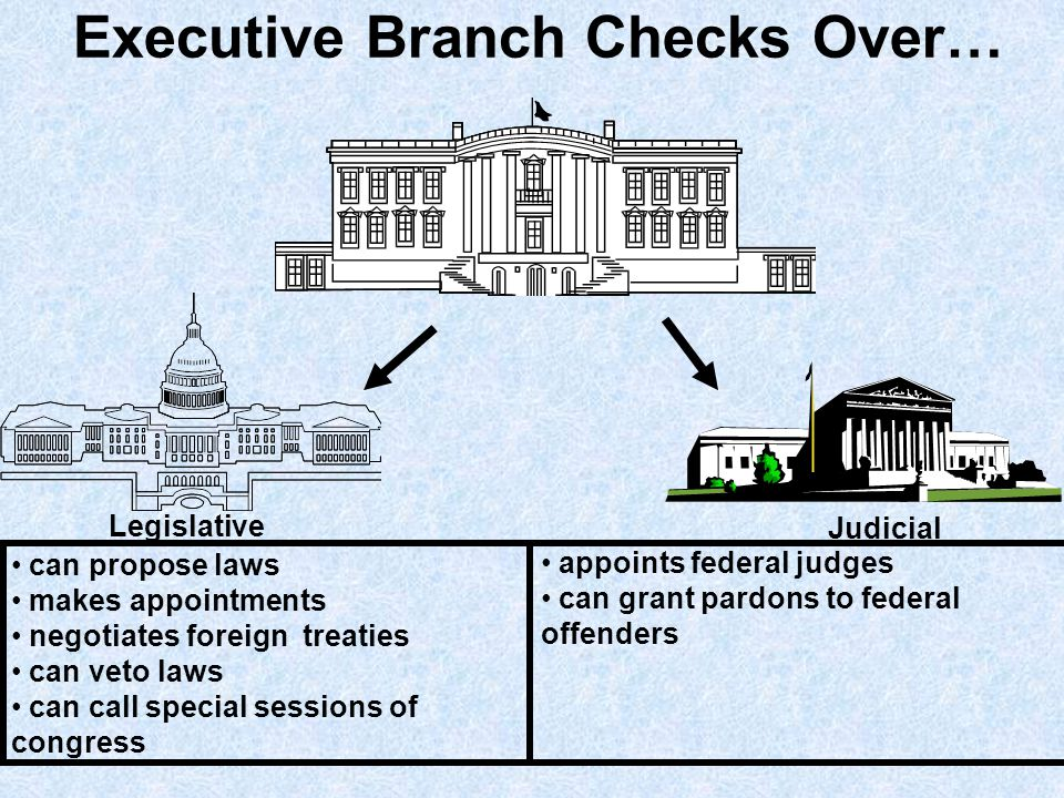 Legislative Branch Checks Over… Executive Judicial can override presidential veto confirms presidential appointments ratifies treaties can declare war appropriates money can impeach and remove president Create lower federal courts Can impeach or remove judges Can propose amendments (overruling judicial decisions) Approves appointments of federal judges