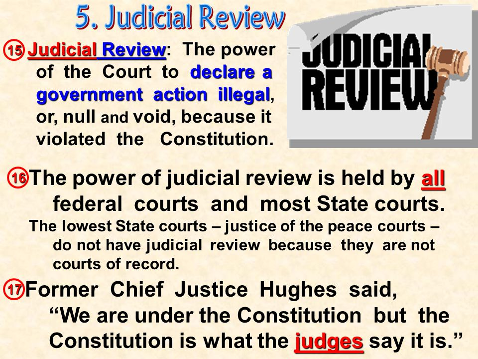 Judicial Branch Checks Over… Executive Legislative can declare executive actions to be unconstitutional can declare laws and acts of Congress to be unconstitutional