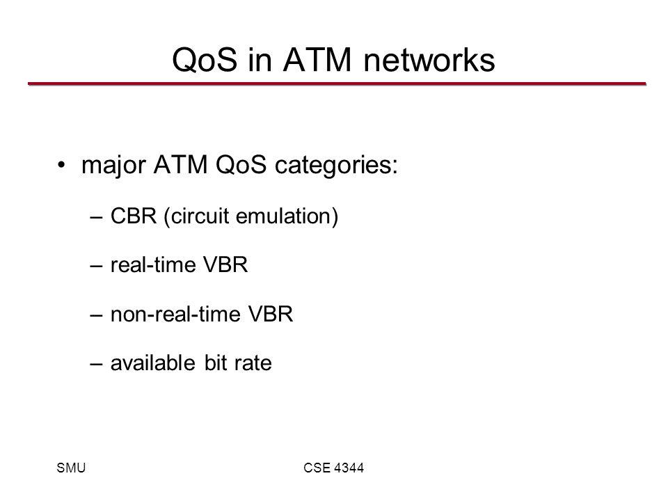 SMUCSE 4344 QoS in ATM networks major ATM QoS categories: –CBR (circuit emulation) –real-time VBR –non-real-time VBR –available bit rate