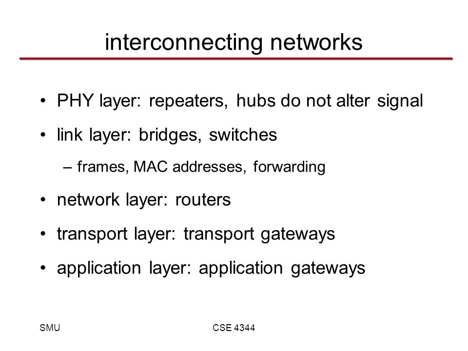 SMUCSE 4344 interconnecting networks PHY layer: repeaters, hubs do not alter signal link layer: bridges, switches –frames, MAC addresses, forwarding network layer: routers transport layer: transport gateways application layer: application gateways