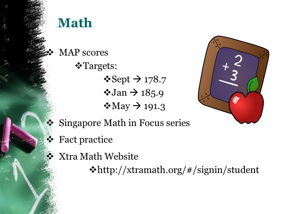 Math  MAP scores  Targets:  Sept  178.7  Jan  185.9  May  191.3  Singapore Math in Focus series  Fact practice  Xtra Math Website  http://xtramath.org/#/signin/student