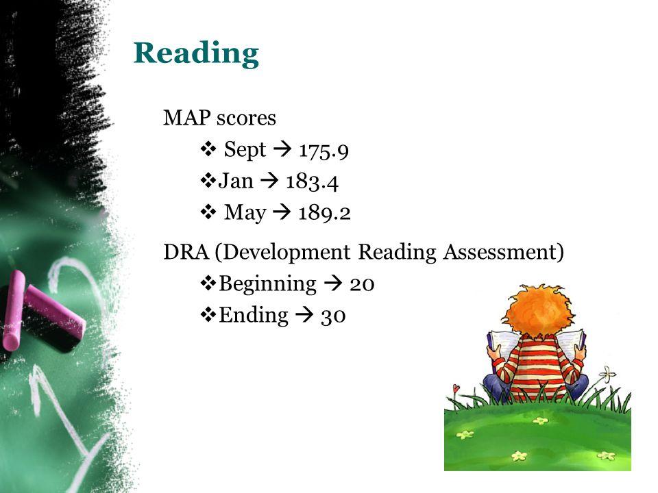 Reading  MAP scores  Sept  175.9  Jan  183.4  May  189.2  DRA (Development Reading Assessment)  Beginning  20  Ending  30