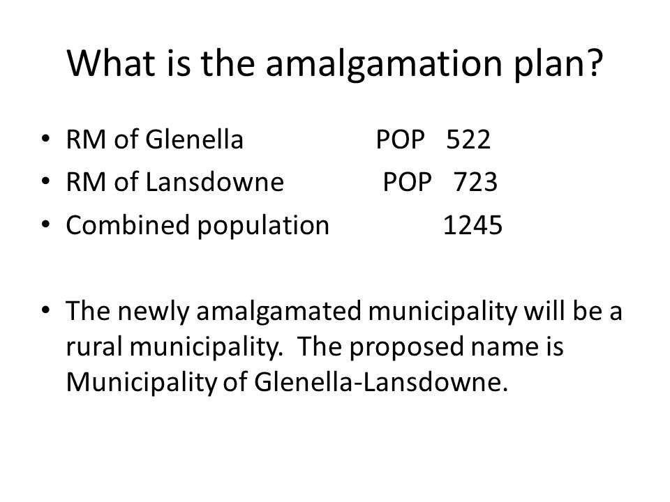 What is the amalgamation plan.