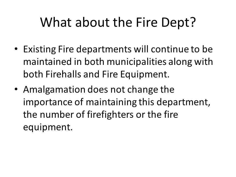 What about the Fire Dept.