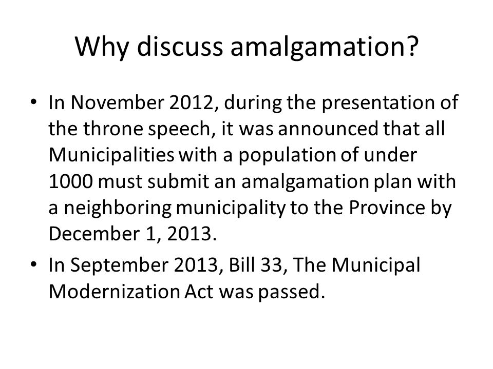 How does amalgamation affect my assessment.