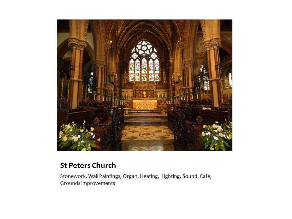 St Peters Church Stonework, Wall Paintings, Organ, Heating, Lighting, Sound, Cafe, Grounds improvements