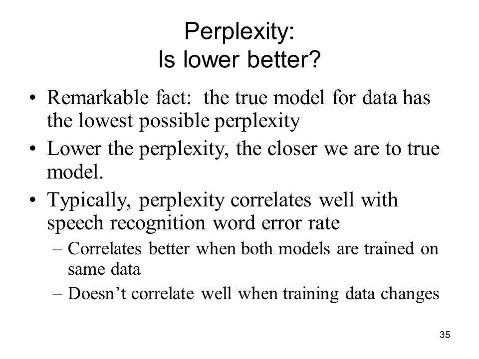 35 Perplexity: Is lower better.