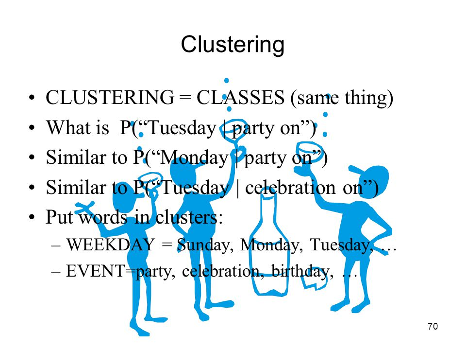 70 Clustering CLUSTERING = CLASSES (same thing) What is P( Tuesday | party on ) Similar to P( Monday | party on ) Similar to P( Tuesday | celebration on ) Put words in clusters: –WEEKDAY = Sunday, Monday, Tuesday, … –EVENT=party, celebration, birthday, …