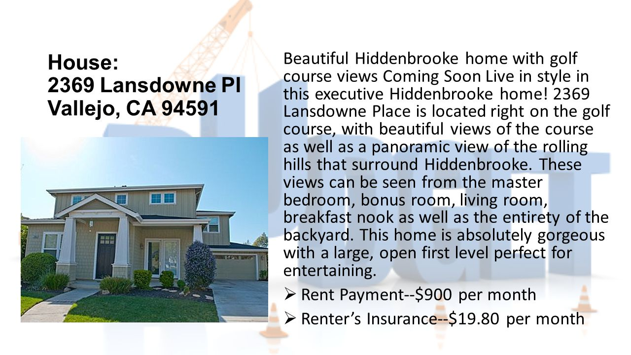 House: 2369 Lansdowne PI Vallejo, CA 94591 Beautiful Hiddenbrooke home with golf course views Coming Soon Live in style in this executive Hiddenbrooke home.