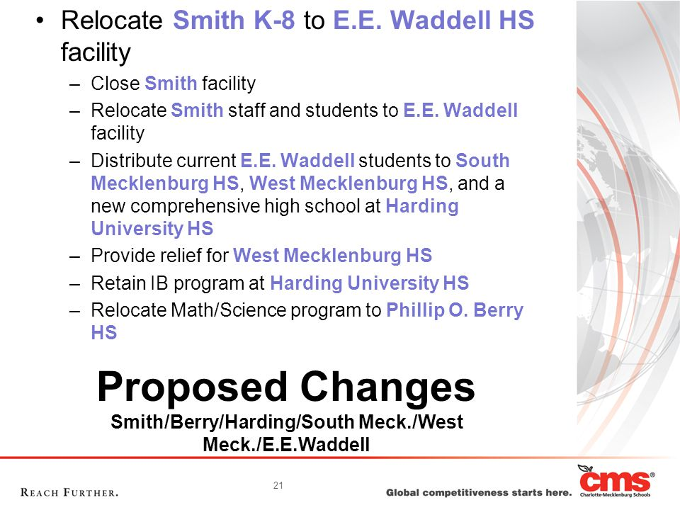 21 Proposed Changes Smith/Berry/Harding/South Meck./West Meck./E.E.Waddell Relocate Smith K-8 to E.E. Waddell HS facility –Close Smith facility –Reloc
