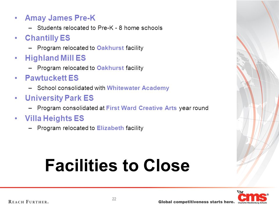 22 Facilities to Close Amay James Pre-K –Students relocated to Pre-K - 8 home schools Chantilly ES –Program relocated to Oakhurst facility Highland Mi