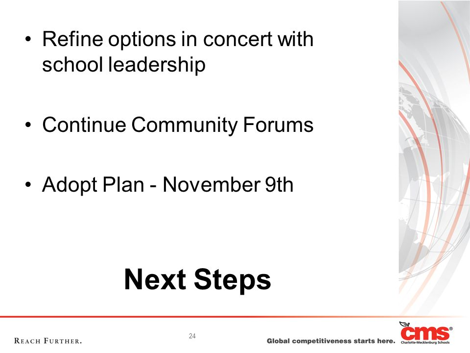 24 Next Steps Refine options in concert with school leadership Continue Community Forums Adopt Plan - November 9th