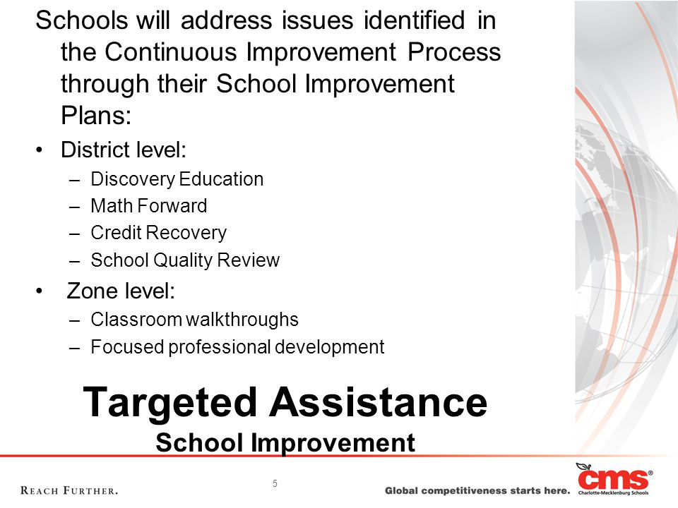 5 Targeted Assistance School Improvement Schools will address issues identified in the Continuous Improvement Process through their School Improvement