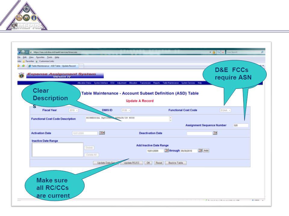D&E FCCs require ASN Clear Description s Make sure all RC/CCs are current