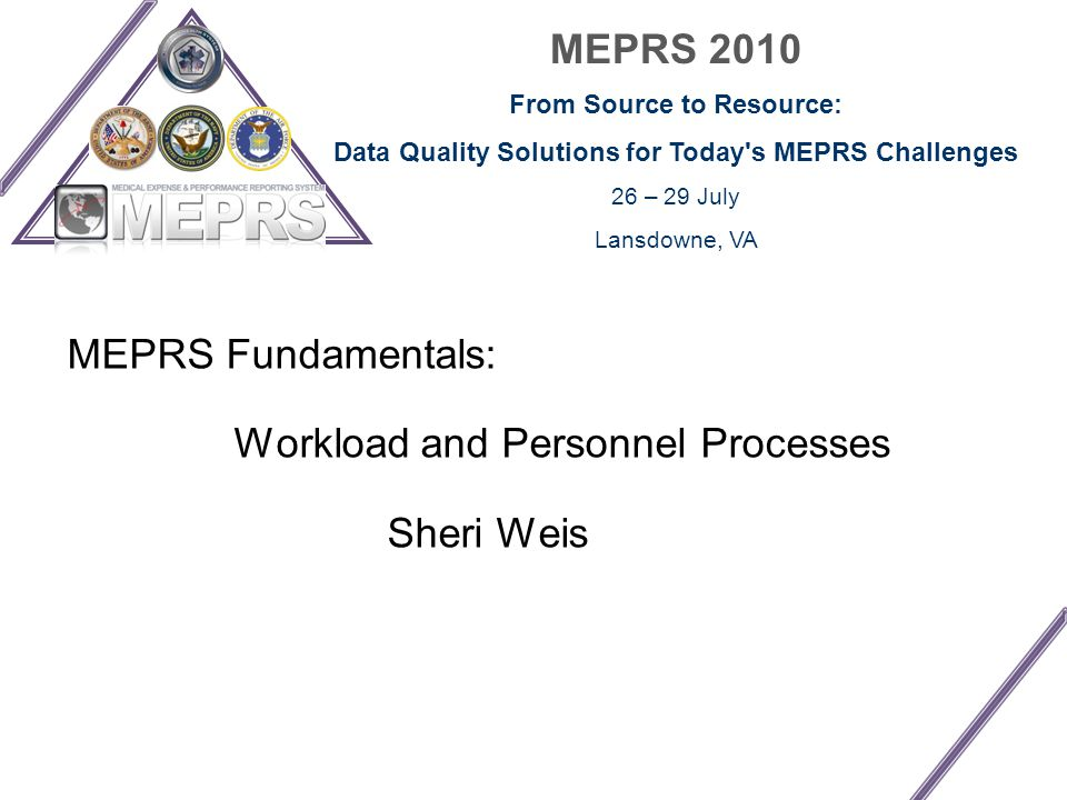 MEPRS 2010 From Source to Resource: Data Quality Solutions for Today s MEPRS Challenges 26 – 29 July Lansdowne, VA MEPRS Fundamentals: Workload and Personnel Processes Sheri Weis