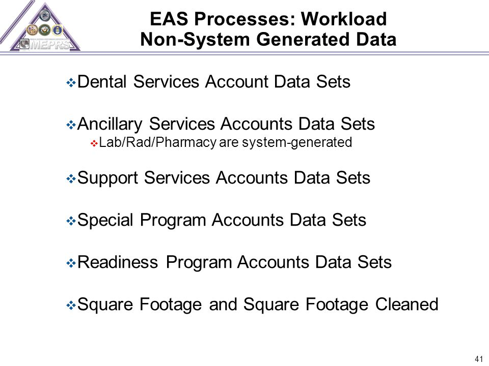 EAS Processes: Workload Non-System Generated Data 41  Dental Services Account Data Sets  Ancillary Services Accounts Data Sets  Lab/Rad/Pharmacy are system-generated  Support Services Accounts Data Sets  Special Program Accounts Data Sets  Readiness Program Accounts Data Sets  Square Footage and Square Footage Cleaned