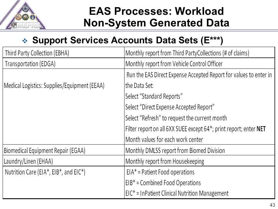 43  Support Services Accounts Data Sets (E***)