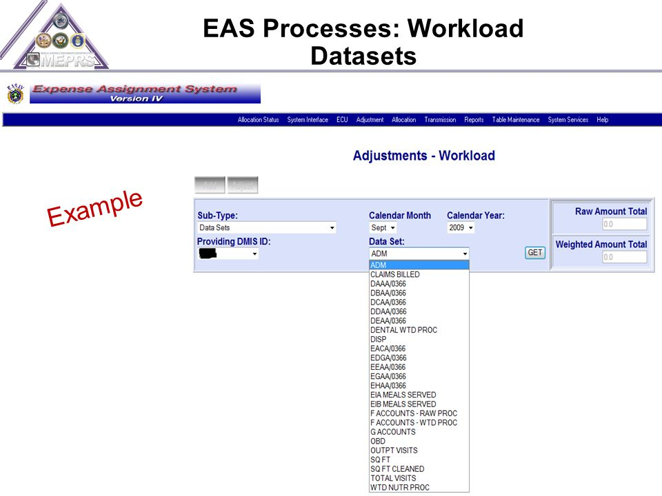 EAS Processes: Workload Datasets 46 Example