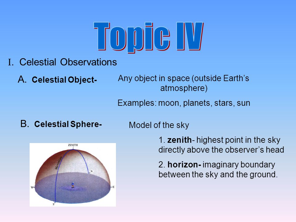 A. Celestial Object- Any object in space (outside Earth's atmosphere) Examples: moon, planets, stars, sun B. Celestial Sphere- Model of the sky 1. zen