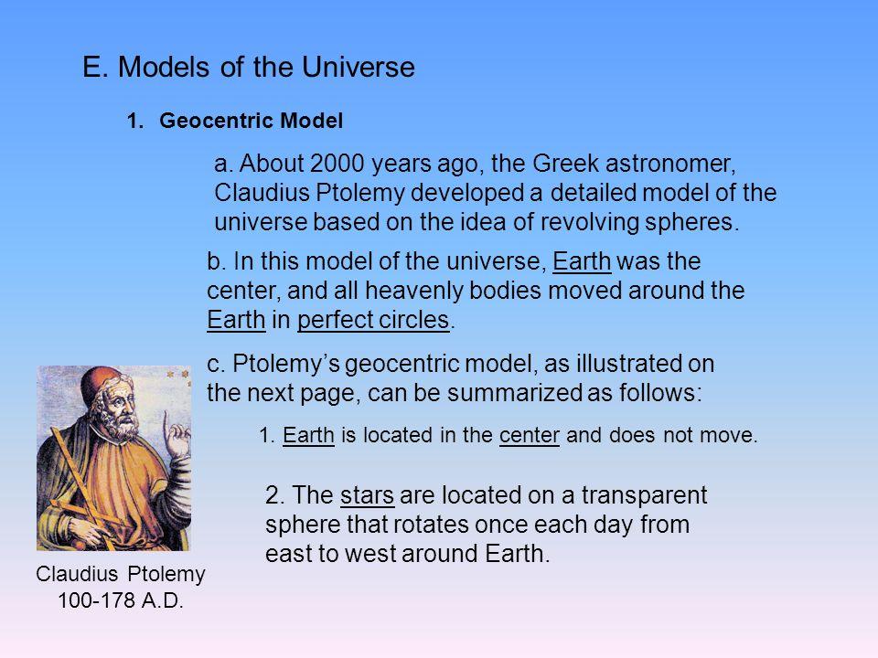 E. Models of the Universe 1.Geocentric Model a.
