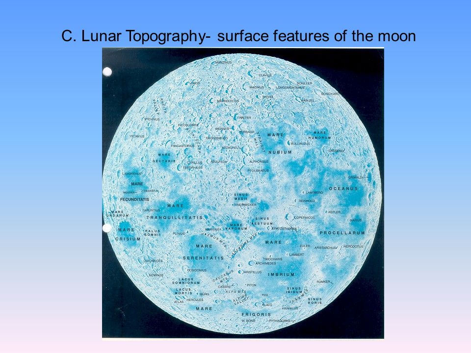 C. Lunar Topography- surface features of the moon