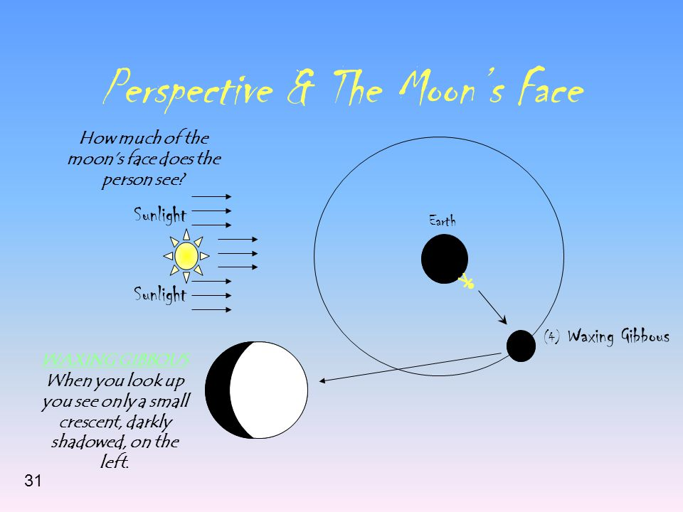 Perspective & The Moon's Face Sunlight Earth (4) Waxing Gibbous How much of the moon's face does the person see.