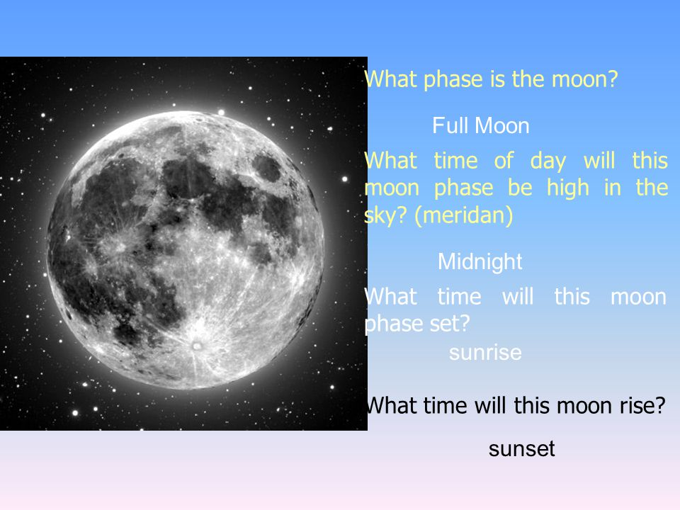 What phase is the moon? What time of day will this moon phase be high in the sky? (meridan) What time will this moon phase set? What time will this mo