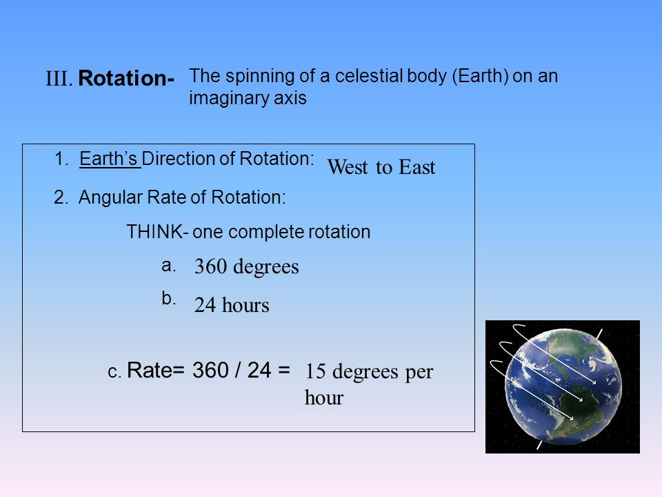 III. Rotation- The spinning of a celestial body (Earth) on an imaginary axis 1.
