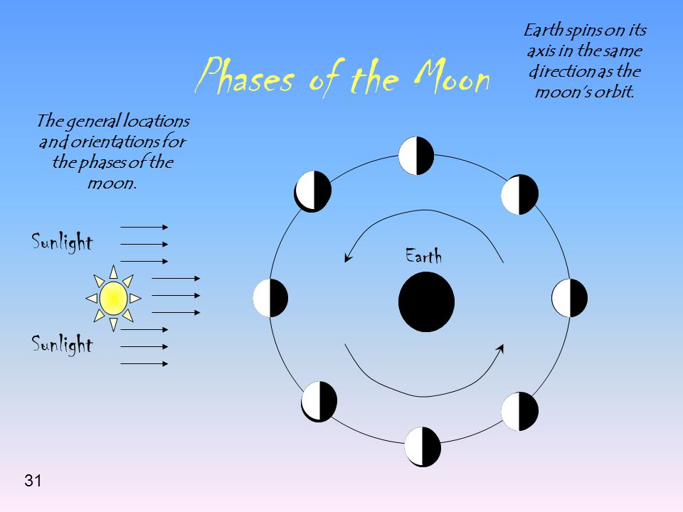 Phases of the Moon Sunlight Earth The general locations and orientations for the phases of the moon. Earth spins on its axis in the same direction as