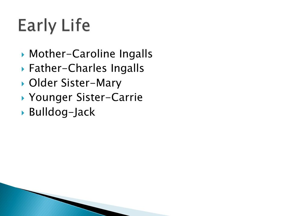  Mother-Caroline Ingalls  Father-Charles Ingalls  Older Sister-Mary  Younger Sister-Carrie  Bulldog-Jack