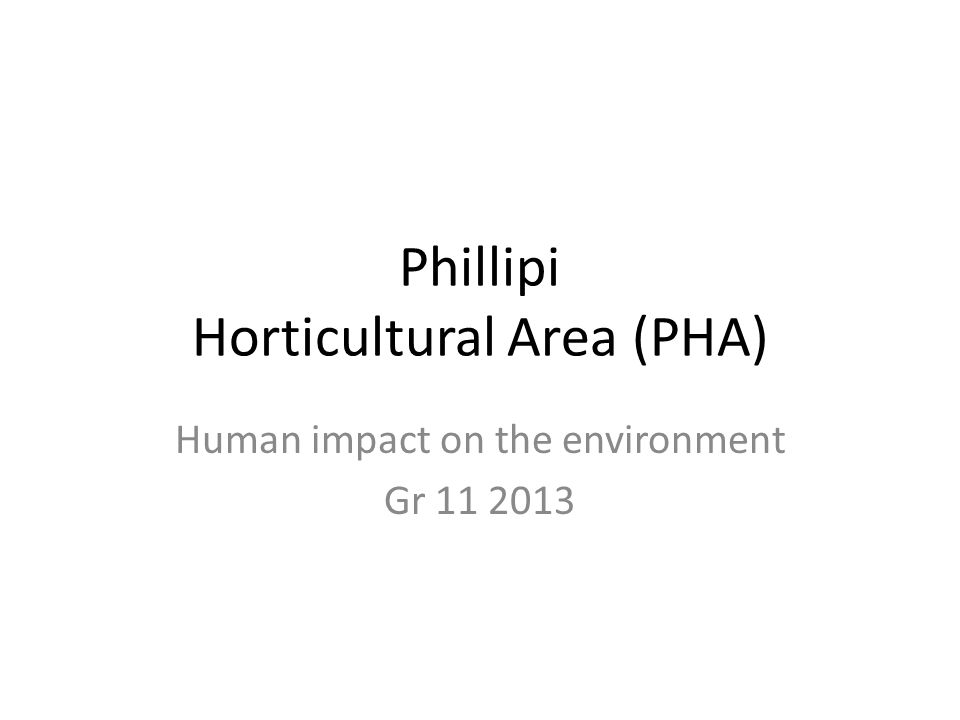 Phillipi Horticultural Area (PHA) Human impact on the environment Gr 11 2013