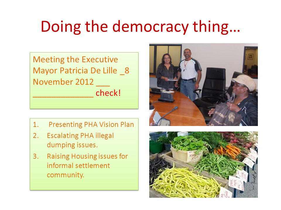 Doing the democracy thing… Meeting the Executive Mayor Patricia De Lille _8 November 2012 ___ _____________ check!