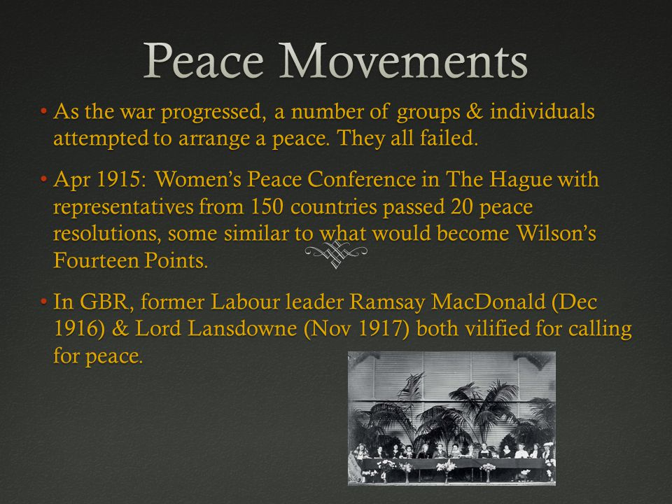 As the war progressed, a number of groups & individuals attempted to arrange a peace.