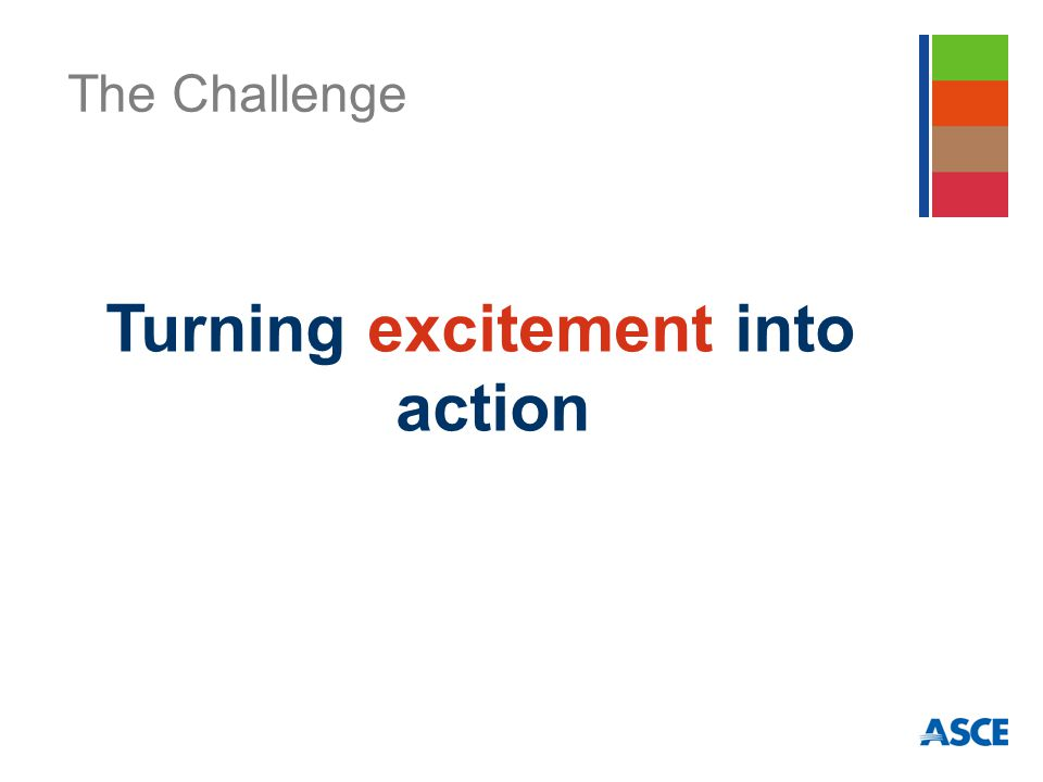 The Challenge Turning excitement into action