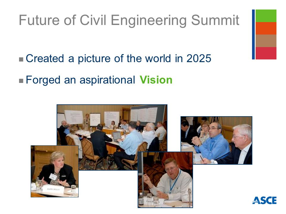 Future of Civil Engineering Summit Created a picture of the world in 2025 Forged an aspirational Vision