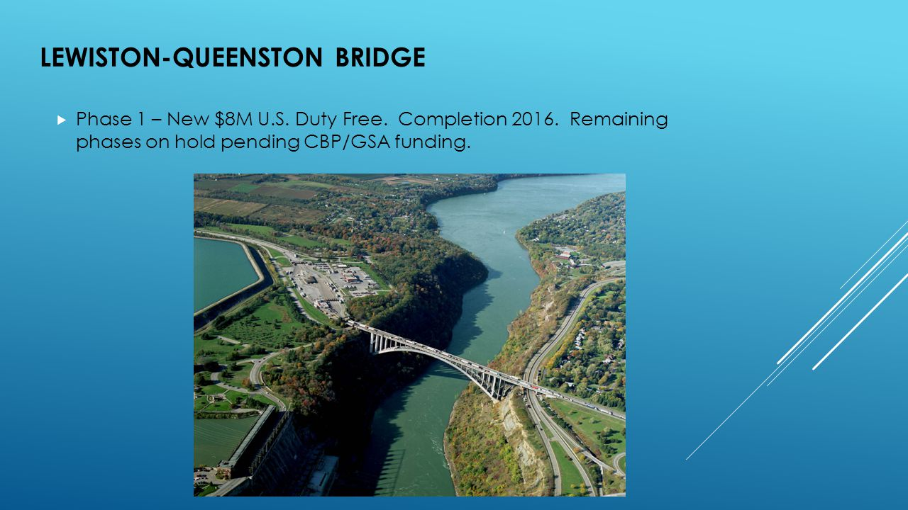 LEWISTON-QUEENSTON BRIDGE  Phase 1 – New $8M U.S.