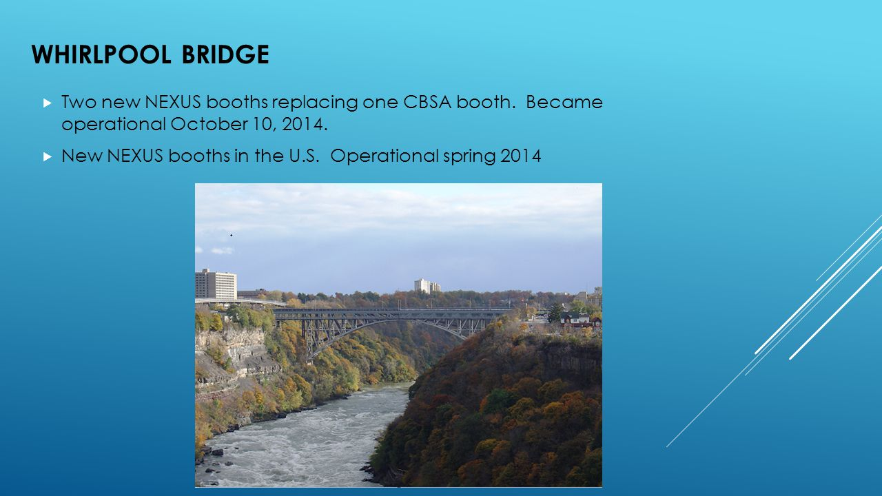 WHIRLPOOL BRIDGE  Two new NEXUS booths replacing one CBSA booth. Became operational October 10, 2014.  New NEXUS booths in the U.S. Operational spri