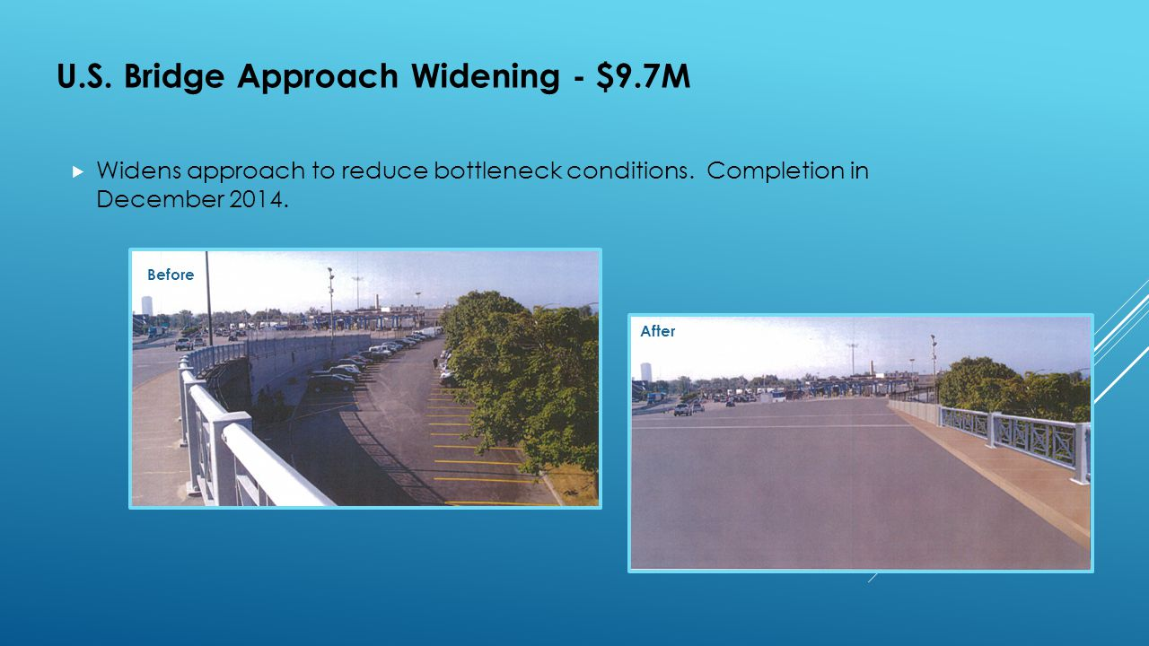 U.S. Bridge Approach Widening - $9.7M  Widens approach to reduce bottleneck conditions. Completion in December 2014. Before After