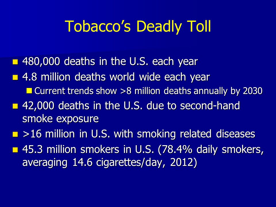 Tobacco's Deadly Toll 480,000 deaths in the U.S. each year 480,000 deaths in the U.S.