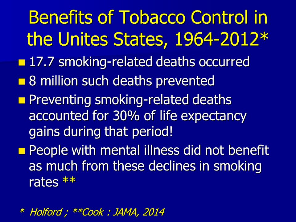 Benefits of Tobacco Control in the Unites States, 1964-2012* 17.7 smoking-related deaths occurred 17.7 smoking-related deaths occurred 8 million such deaths prevented 8 million such deaths prevented Preventing smoking-related deaths accounted for 30% of life expectancy gains during that period.